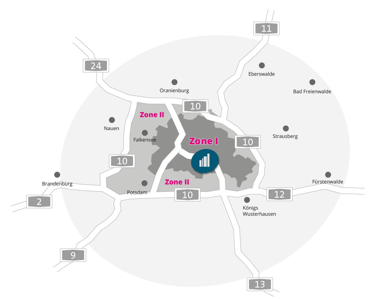 Lieferlogistik Zonen Karte