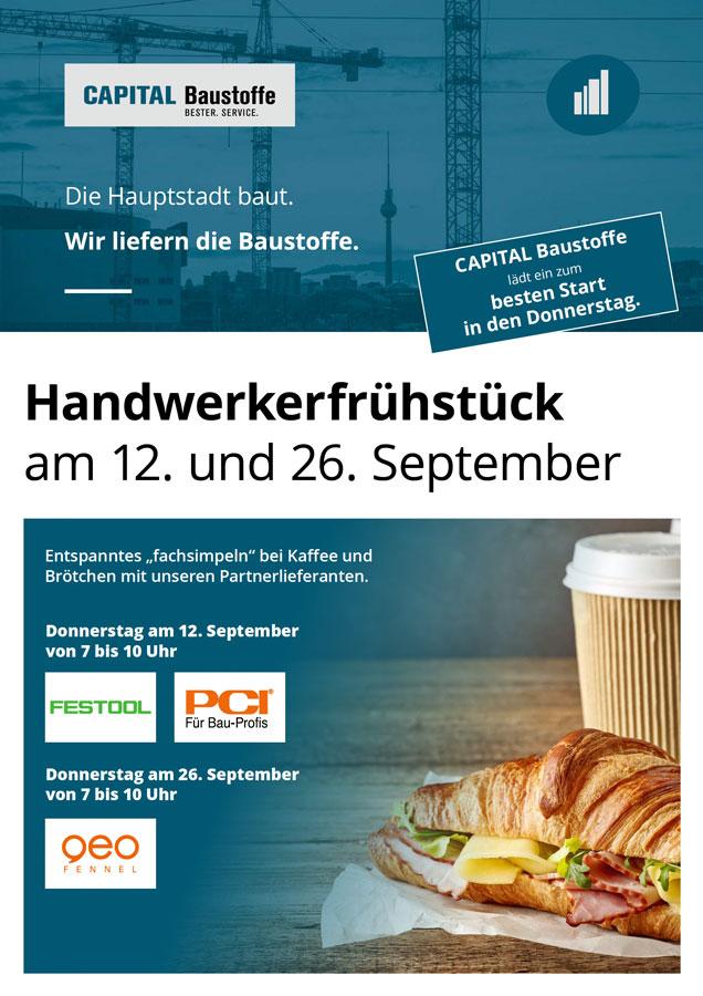 Handwerkerfrühstück am 12. und 26. September